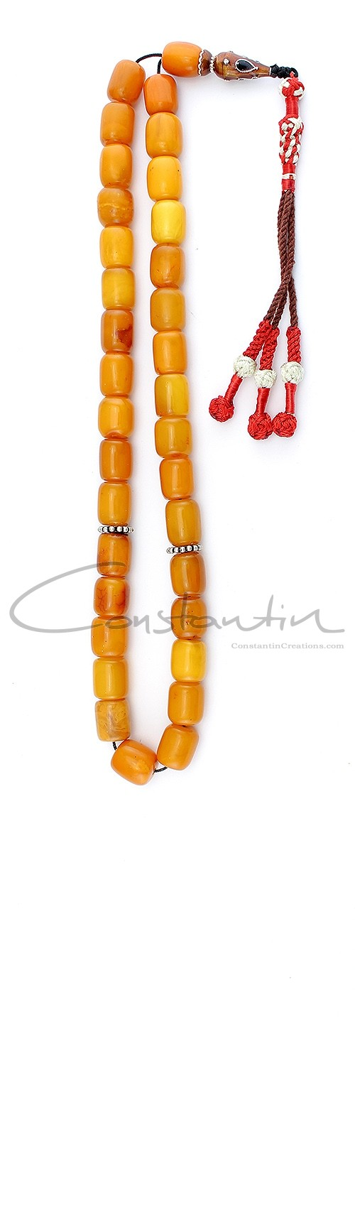 Premium quality Worry beads set made of natural amber and enamel decorated silver.
