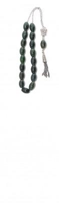 Greek komboloi made of selected natural, dark Green Jasper stone.