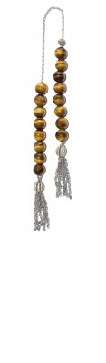 Natural, Tiger's Eye, Mini worry beads (begleri) .