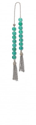 Mini worry beads (begleri) made of Natural Green Agate stone beads.