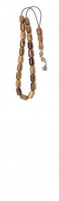 Greek handy size Komboloi with barrel shape beads made of natural Coconut wood.