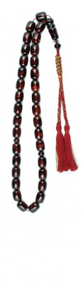 Dark red natural amber worry beads.