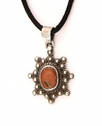 Vintage, natural, Aegean sea, red coral pendant with silver.