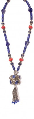 Long , Hand made necklace made of natural Lapis lazuli , Coral and vintage silver parts.