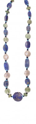 Ethnic style,necklace made of vintage, Lapis Lazuli, Turquise and Jade mineral stone beads.