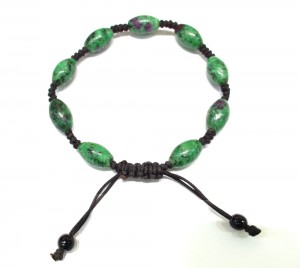 Rubyzosite semi precious stone knotted bracelet
