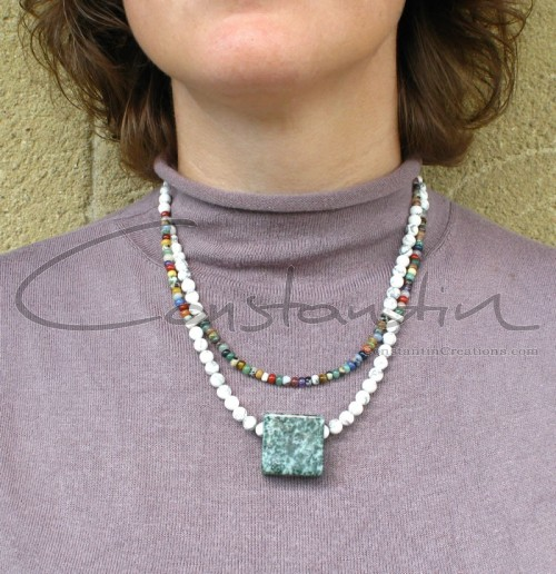 Handmade casual necklace with a square shape jasper pendant.