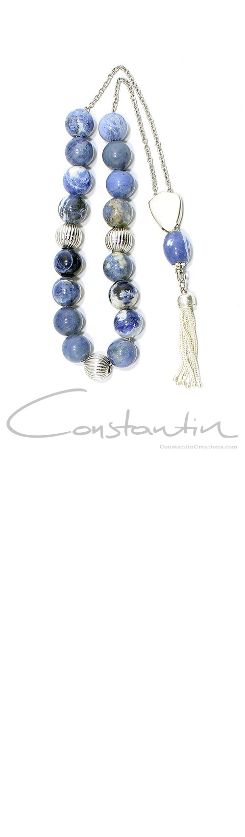 All time classic, Greek komboloi made of natural Blue Sodalite and silver.