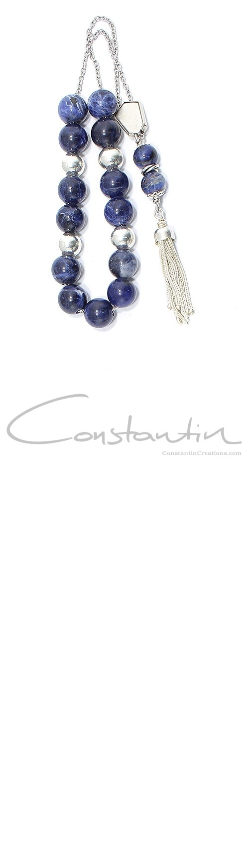 Dark blue mineral Sodalite, Greek komboloi with silver parts &  beads.