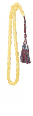 Natural yellow amber worry beads.