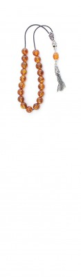Mini Greek Amber komboloi, made of 100 % natural amber, pressed and sterling silver.
