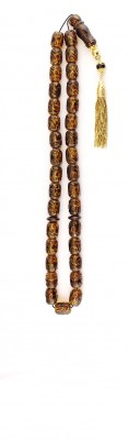 Exclusive and Collectable, Worry beads set made of  engraved natural amber and Gold parts.