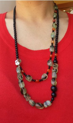 Handmade necklace made of natural Black Onyx and Green Prehnite stone beads, carnelian and silver parts.