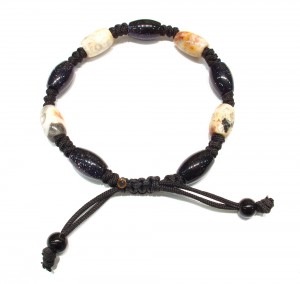 Dark blue goldstone and fancy Jasper natural semi precious stone, knotted bracelet