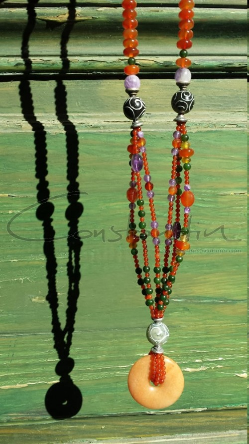 Multi stone, hand made long necklace.