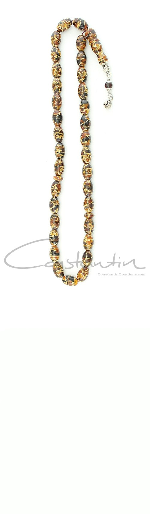 33 beads, Multicolor Mosaic amber worry beads set, made of natural, small amber pieces.