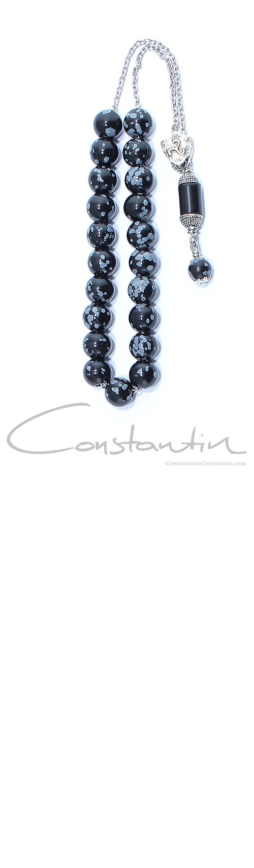 Hand crafted, Greek komboloi made of natural  Snowflake Obsidian gemstone.