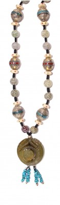 Hand made long necklace made of vintage, silver Nepalese beads and gem stones.