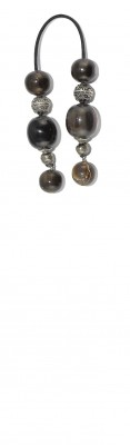 Mini worry beads (begleri) made of  round Water Buffalo horn beads and sterling silver parts.