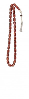 Dark honey / red natural amber worry beads set.