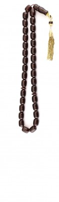 Worry beads set made of dark red natural amber and solid Gold.