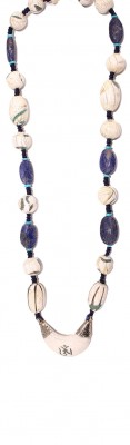 Hand made long necklace made of vintage, fossilized sea shell Nepalese beads and mineral stone beads.