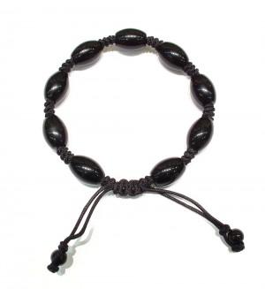 Black Agate semi precious stone knotted bracelet