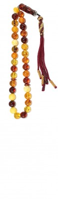 Handy size, worry beads set, made of selected natural amber, with many natural colors combination