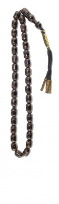 Worry beads set, made of natural Black Coral, decorated by hand work with copper inlays.