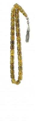 Greenish, Amber worry beads set, made of 100 % natural amber, pressed.