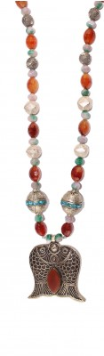 Hand made long necklace made of vintage, silver Nepalese beads, Agate  and Carnelian mineral stone beads.