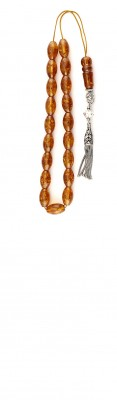 Classic, Greek style komboloi with oval shape amber beads.