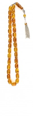 Large and impressive, natural amber worry beads .