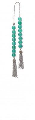 Mini worry beads (begleri) made of Natural Green Agate stone beads.