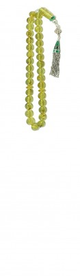 Pocket size worry beads set made of natural, green Colombian amber.
