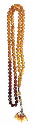 Faceted multi color pressed natural amber worry beads
