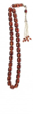 Natural red amber worry beads.