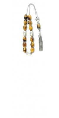 Greek komboloi,  made of natural Semi Precious stone Tiger's Eye beads and silver parts.