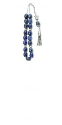 Original, Greek komboloi made of natural Blue Sodalite and silver.